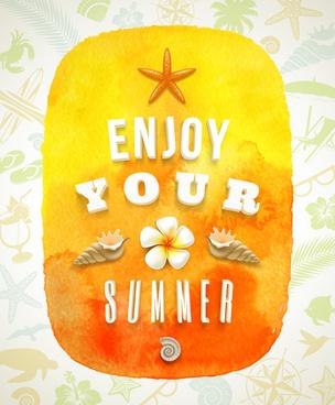 enjoy summer time creative vector