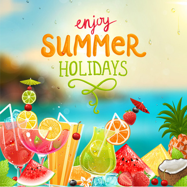 enjoy tropical summer holidays backgrounds vector