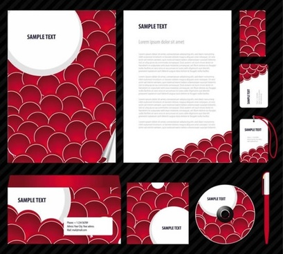 business identity templates elegant red white circles decor