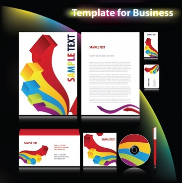 business identity sets modern colorful arrows 3d