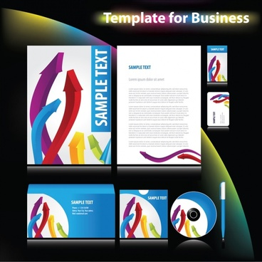 business identity templates contemporary design 3d arrows decor
