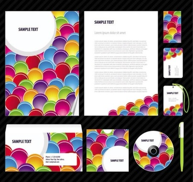 business identity templates modern colorful circles decor