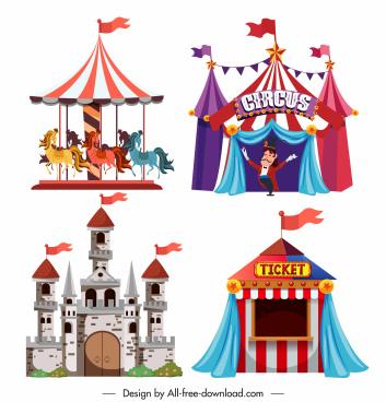 entertainment park design elements castle circus carousel sketch