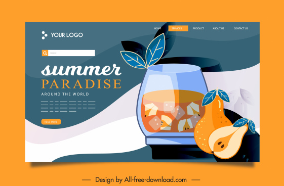 entertainment webpage template flat classic pear cocktail sketch