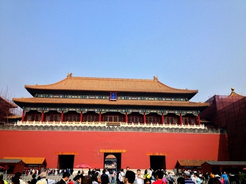 entrance gate into the forbidden city in beijing china