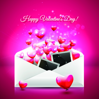 envelope and valentines day vector background