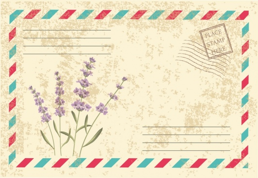 envelope cover design lavender icon retro decoration