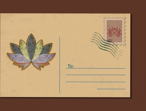 envelope cover template lotus icon decoration
