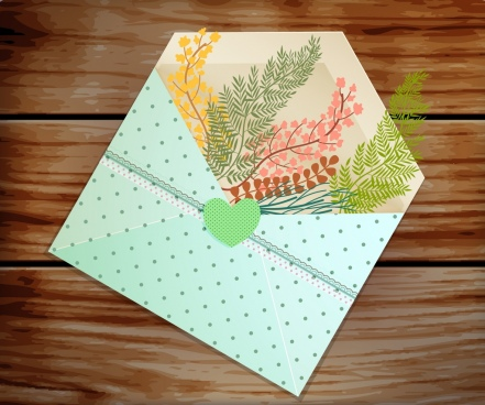 envelope postcard cover template colorful leaves decoration