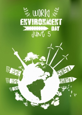 environment banner green design globe icons circle layout