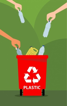 environment banner hand plastic bottles dustbin icons