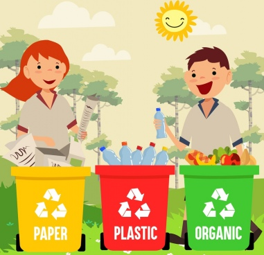 environment banner recycling sign dustbin human icons