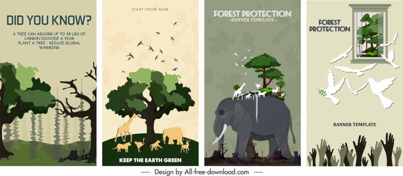 environment banner templates nature emblems classical design