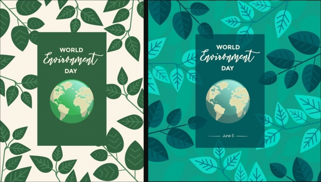 environment day banner templates globe leaves icons decor
