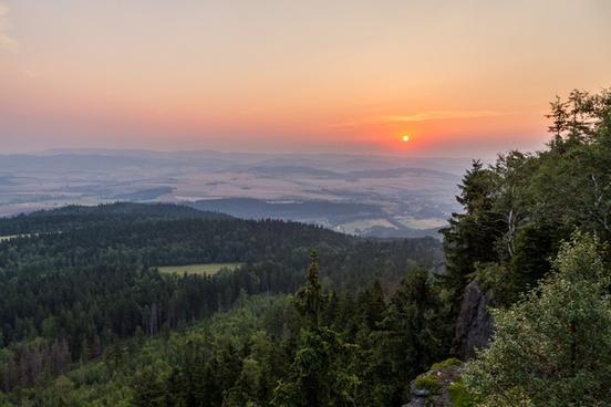 environment evening fog forest hill landscape