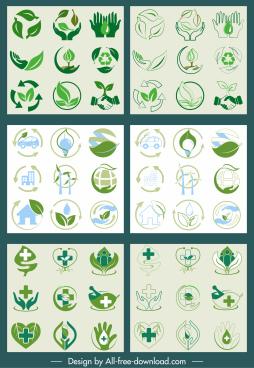 environment medical signs icons green flat handdrawn sketch