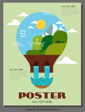 environment poster template lightbulb layout colorful flat design