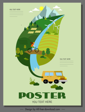 environment poster template rural scene leaf layout