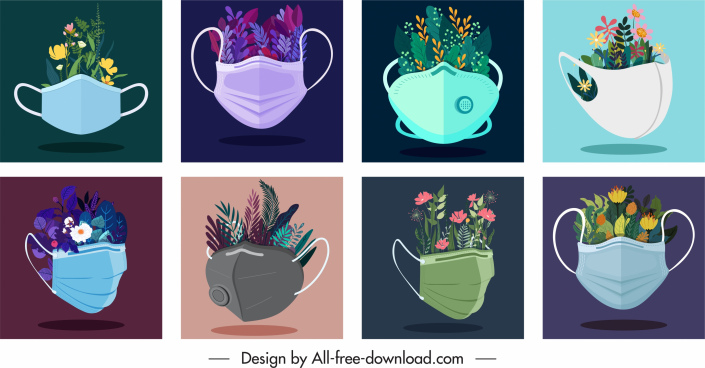 environment protection background face mask floras sketch