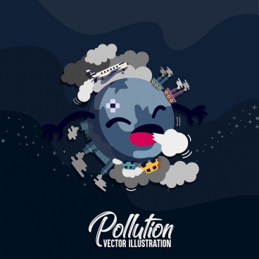 environment protection banner stylized earth icon pollution elements