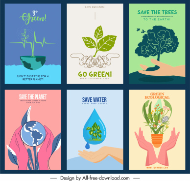 environment protection banners classic design nature elements sketch