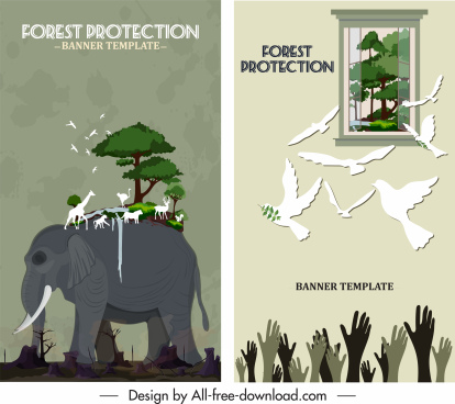 environment protection banners damaged nature symbols sketch