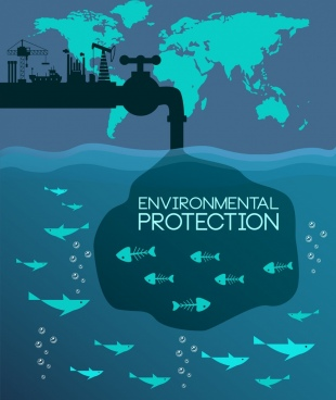 environment protection poster plant fish bones icons decor
