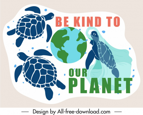 environment protection poster turtles rubbish sketch