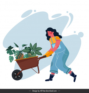 environmental banner woman planting work sketch cartoon character