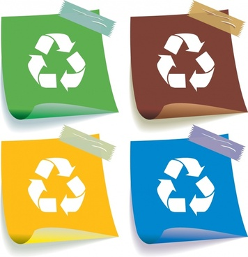 recycle sticker templates colored 3d design