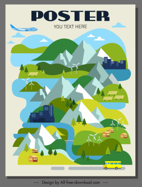 environmental poster mountain scene houses traffic sketch