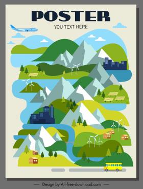 environmental poster mountain scene houses traffic sketch