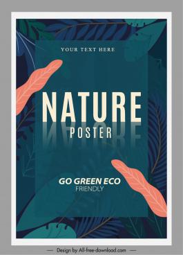 environmental poster template leaves sketch dark classic design