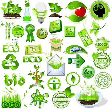 environmental protection and eco elements icons vector