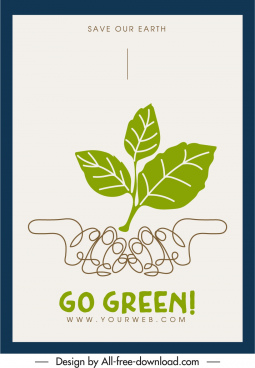 environmental protection banner flat leaf hands handdrawn