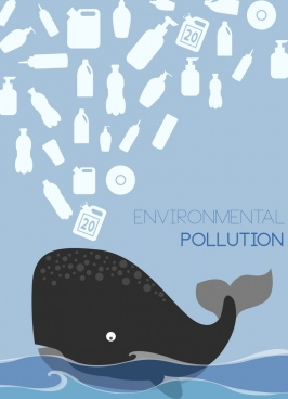 environmental protection banner plastic waste whale icons