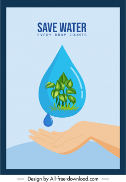 environmental protection banner waterdroplet hand leaves sketch