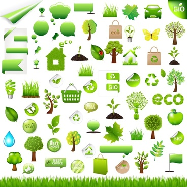 eco design elements green symbols sketch