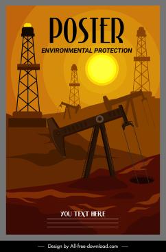 environmental protection poster oil exploitation sketch dark design