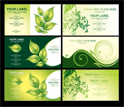 business card templates environmental themes green leaves sketch