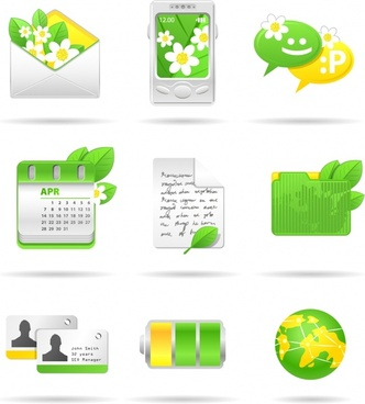 ui icons ecological themes decor yellow green design