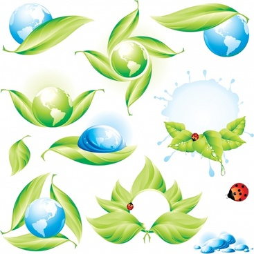 ecology design elements globe leaves ladybug droplets icons