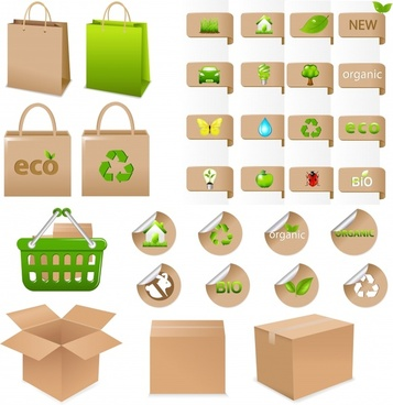 ecological design elements modern colored bag box labels