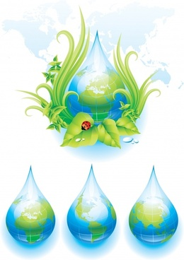 ecology icons water drops leaf insects colorful modern