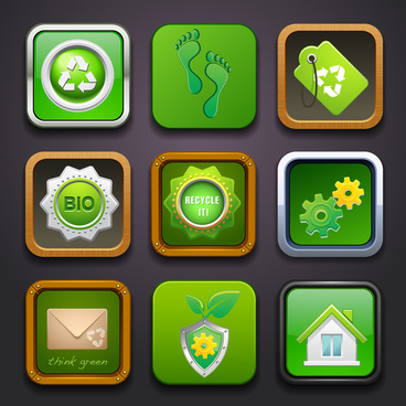environmental user interface icons with green illustration