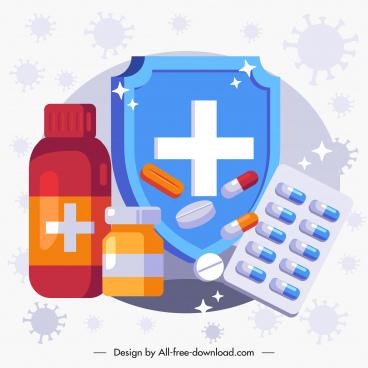 epidemic fighting banner medical shield medicine drugs decor