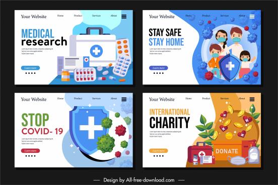 epidemic fighting webpage templates medical elements decor