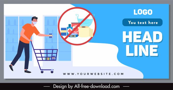 epidemic shopping banner shopper goods sketch