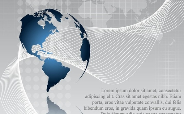 globe background map design waving curves decoration
