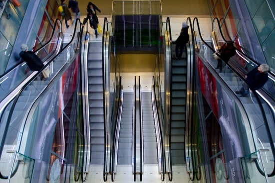 escalators in a shopping mall
